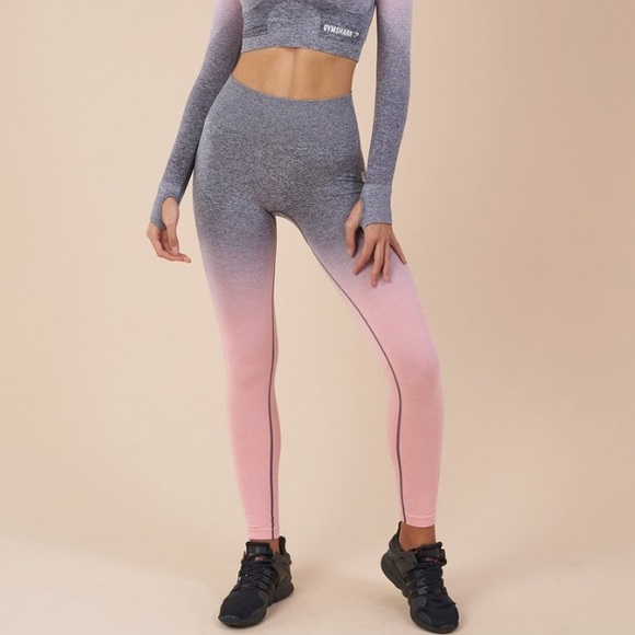 Gymshark Pants - Gymshark Peach Pink/Charcoal Ombré Seamless